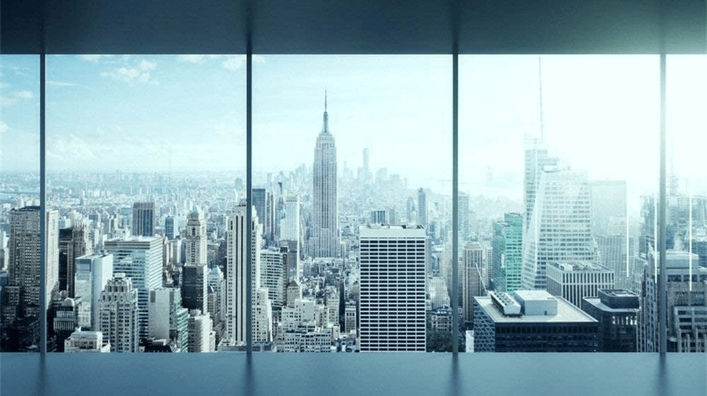 5x3ft Glass Window Photo Backdrop Office Viewing New York City Side Photogrqaphy Background