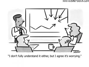 line chart business cartoon