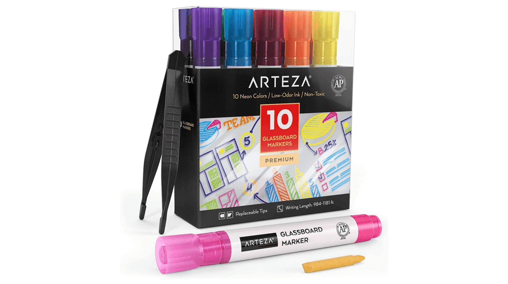 Arteza Glass Board Dry Erase Markers Pack of 10 Bright Neon Colors with Low-Odor Ink