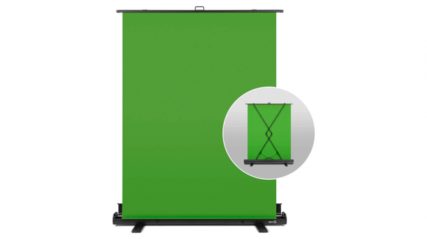 Elgato Green Screen - Collapsible chroma key panel for background removal with auto-locking frame, wrinkle-resistant chroma-green fabric