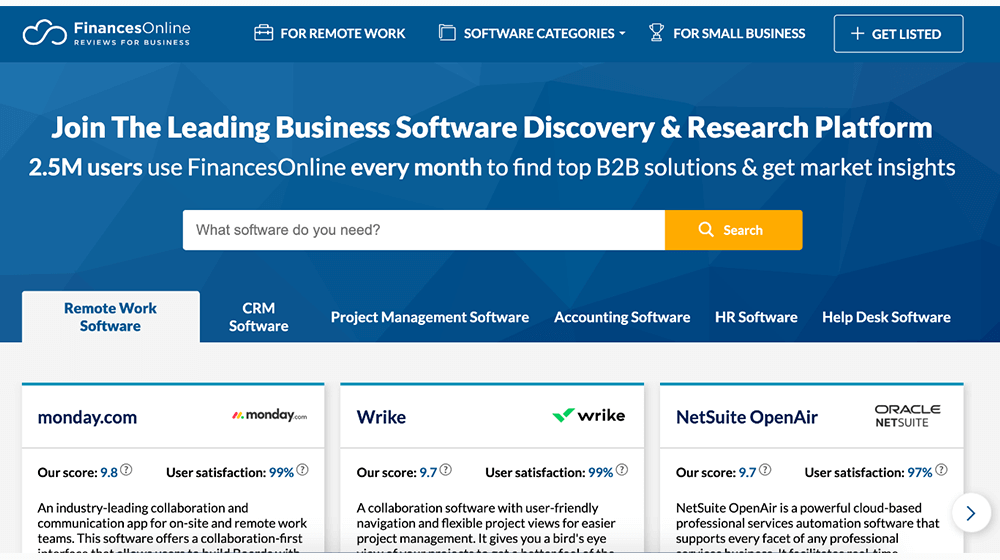 FinancesOnline software reviews