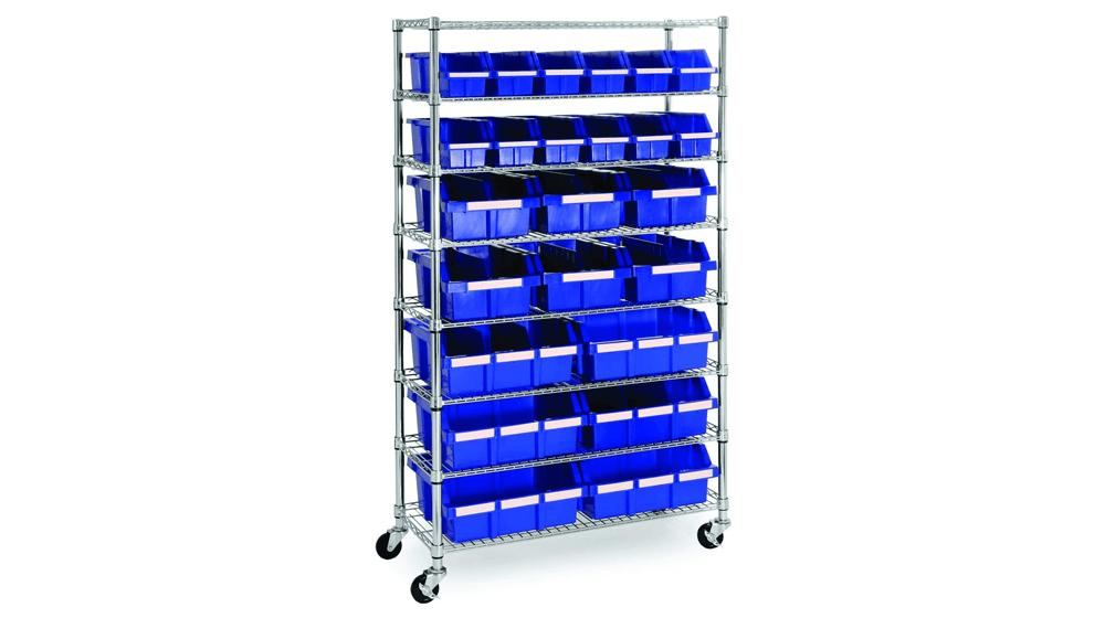 Seville Classics Commercial 8-Tier UltraZinc, Blue NSF 24-Bin Rack Storage System