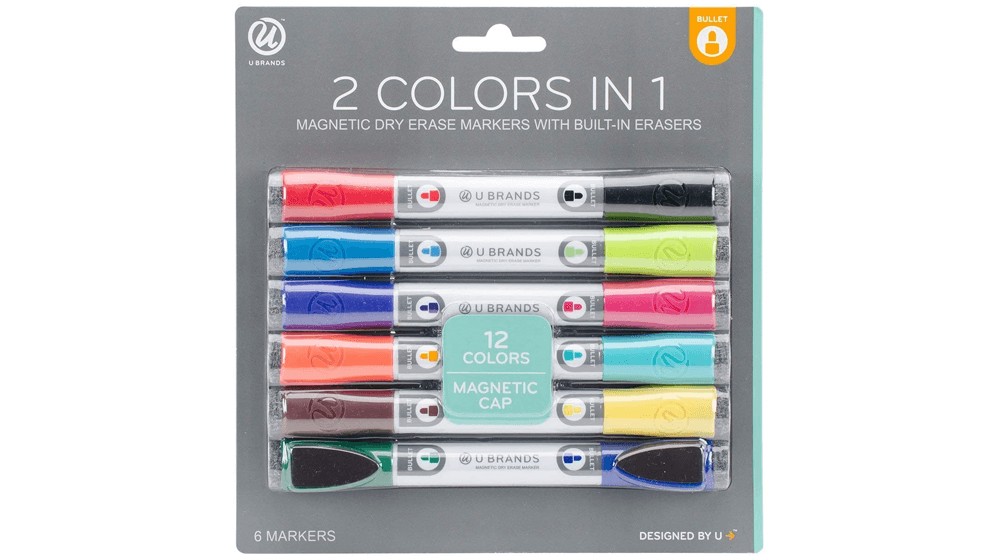 U Brands Low Odor Magnetic Double Ended Dry Erase Markers With Erasers