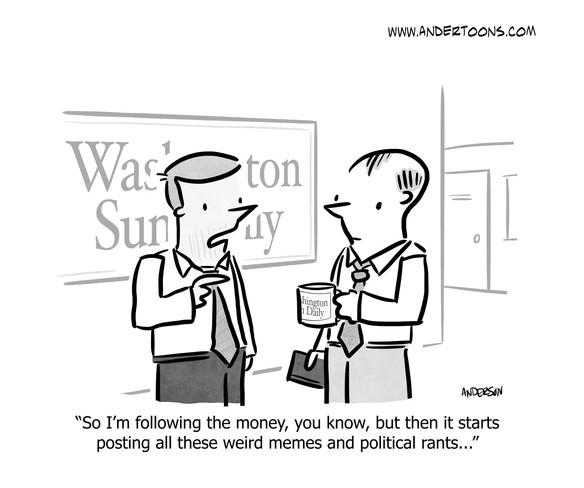 follow the money business social media cartoon
