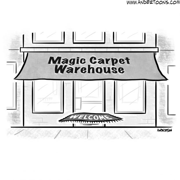 magic carpet business cartoon