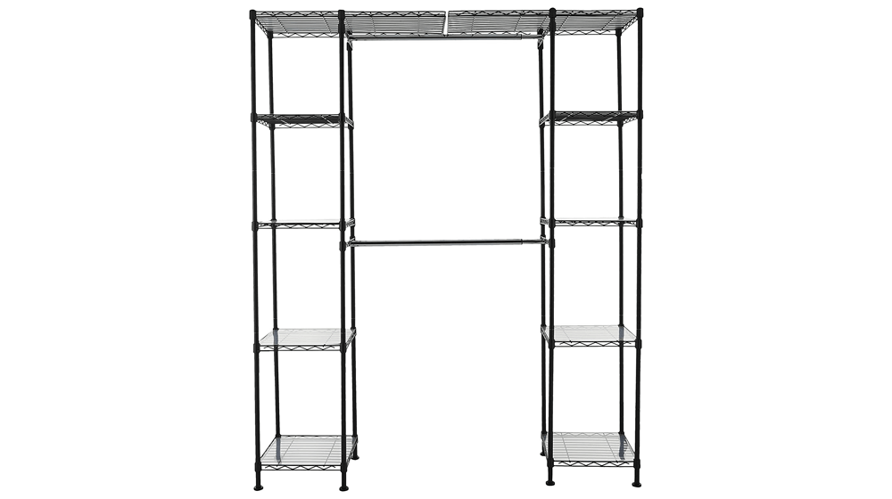 Amazon Basics Expandable Metal Hanging Storage Organizer Rack Wardrobe with Shelves