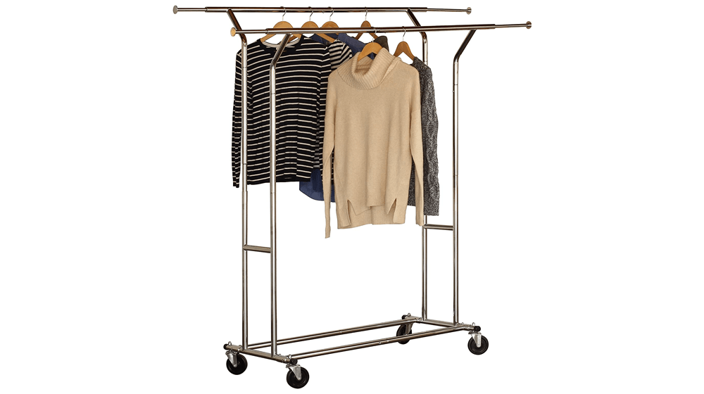 DecoBros Supreme Commercial Grade Double Rail Garment Rolling Rack