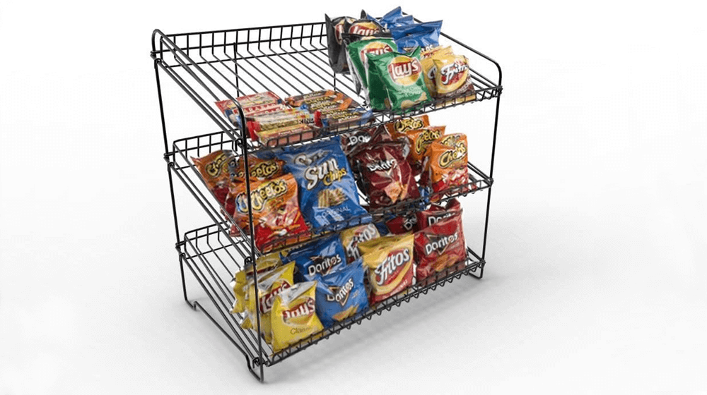 FixtureDisplays 23.0-Inch x 23.0-Inch x 13.3-Inch Wire Rack for Countertop Use with 3 Open Shelves