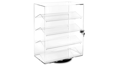 MOOCA Lockable Showcase Rotating Acrylic Display Stand with 4 Removable Shelves