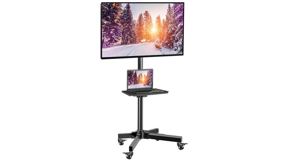 Mobile TV Cart with Wheels for 23-55 Inch LCD LED 4K Flat Curved Screen TVs
