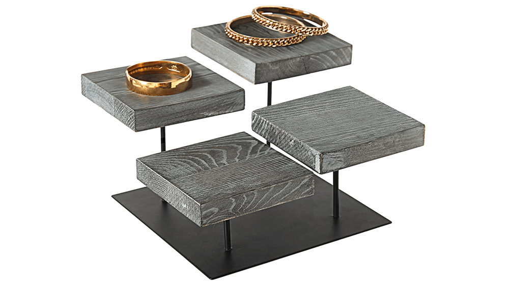 MyGift 4-Tier Industrial Designed Weathered Gray Wood and Metal Pedestal Jewelry Organizer Display Riser Stand