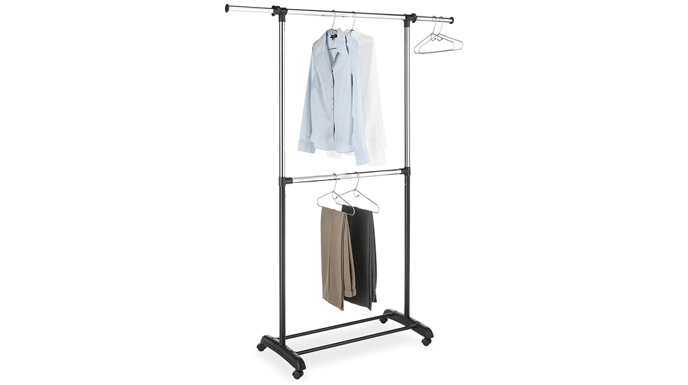 Whitmor Adjustable 2-Rod Garment Rack - Rolling Clothes Organizer
