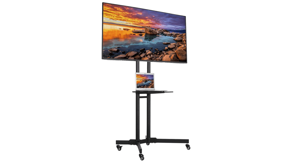 YAHEETECH 32 to 65 Inch Mobile TV Cart Universal Flat Screen Rolling TV Stand