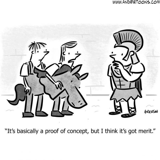 trojan horse business cartoon