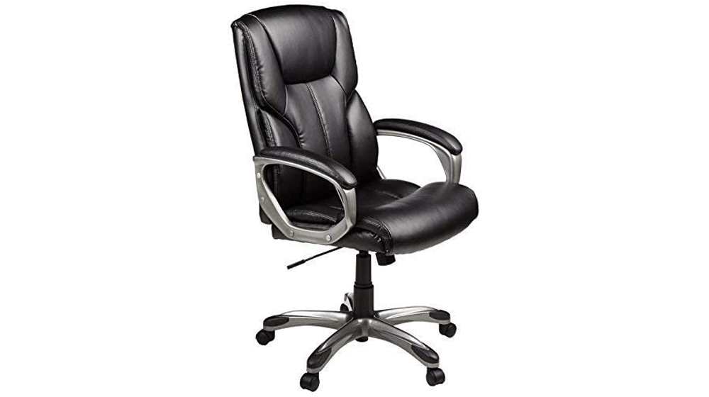 Amazon Basics High-Back Executive, Swivel, Adjustable Office Desk Chair with Casters