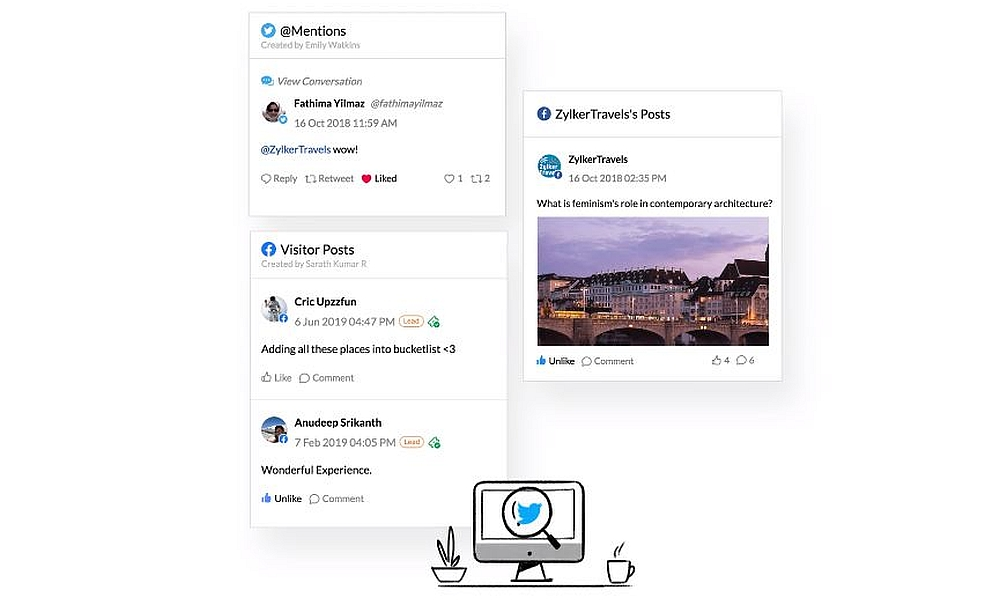 zoho social listening feature
