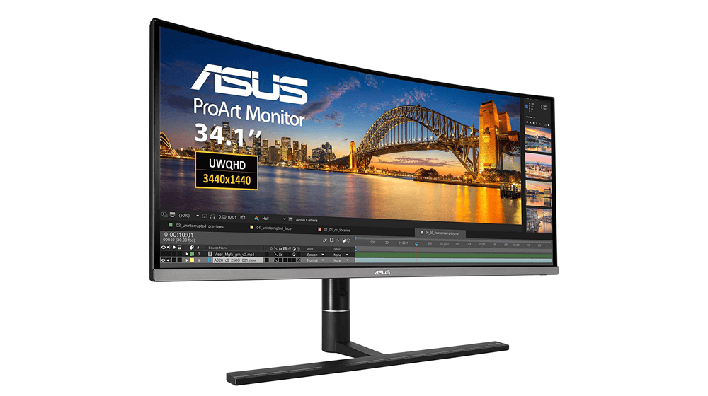 ASUS ProArt PA34VC 34-Inch Curved Monitor Uwqhd 100Hz HDR-10 IPS Eye Care