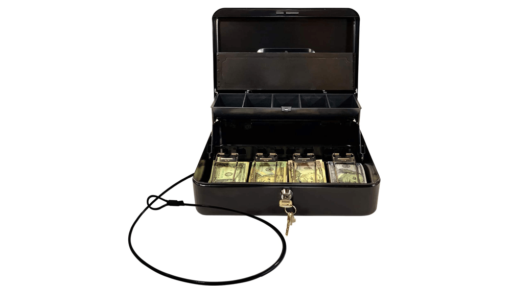Cash Box by OSAFE – Money Box with Lock & Security Cable