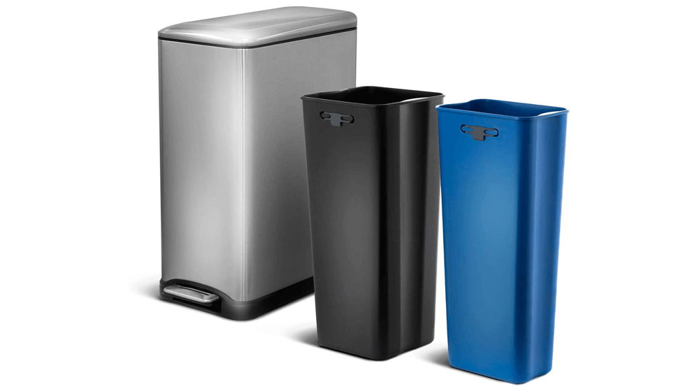 Home Zone Living 13 Gallon Kitchen Trash Can, Dual Compartment Recycle Combo