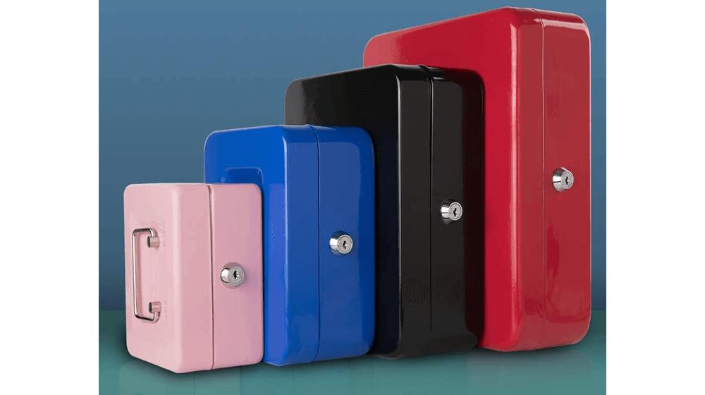 KYODOLED Cash Box with Money Tray,Storage Safe Lock Box with Key