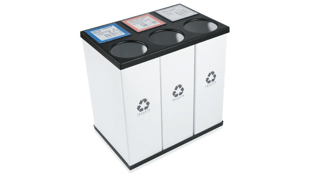 RecycleBoxBin Plastic Light Weight Large Triple Recycling Bin 25 Gallon Each with Changeable Label System