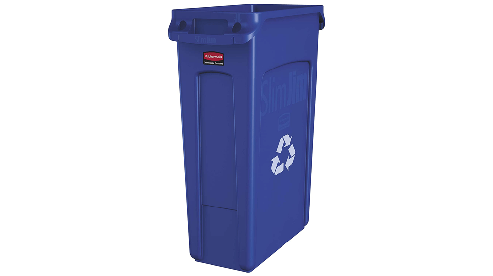 Rubbermaid Commercial Products Slim Jim Plastic Rectangular Recycling Bin with Venting Channels