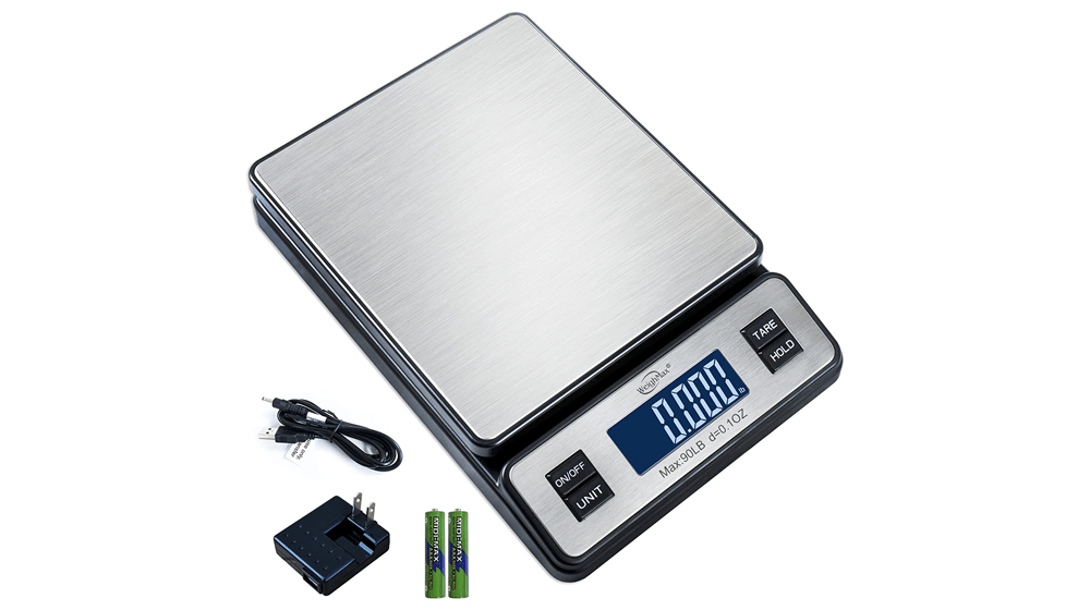 Weighmax W-2809 90 LB X 0.1 OZ Durable Stainless Steel Digital Postal Scale