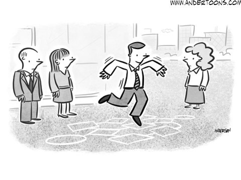 jump to conclusions business cartoon