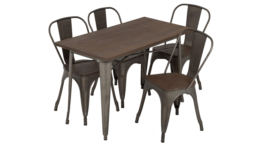 FDW Outdoor Dining Table and Chairs for 4 Patio Table Set 5-Piece Metal Dining Table Set
