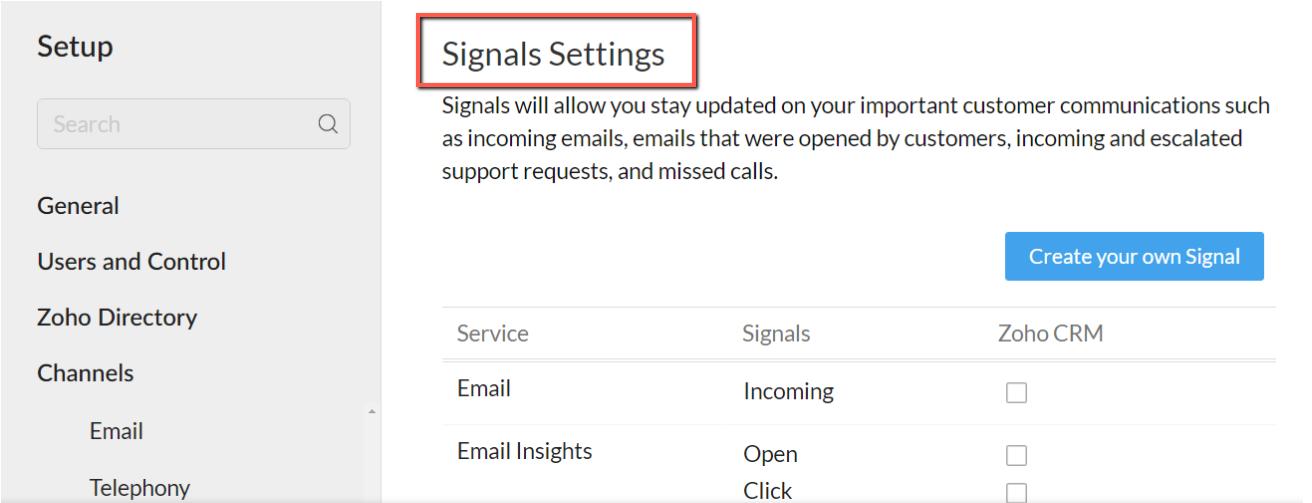 Signals Setting