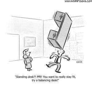 standing desk business cartoon