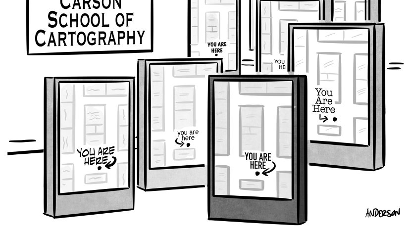 you are here map business cartoon