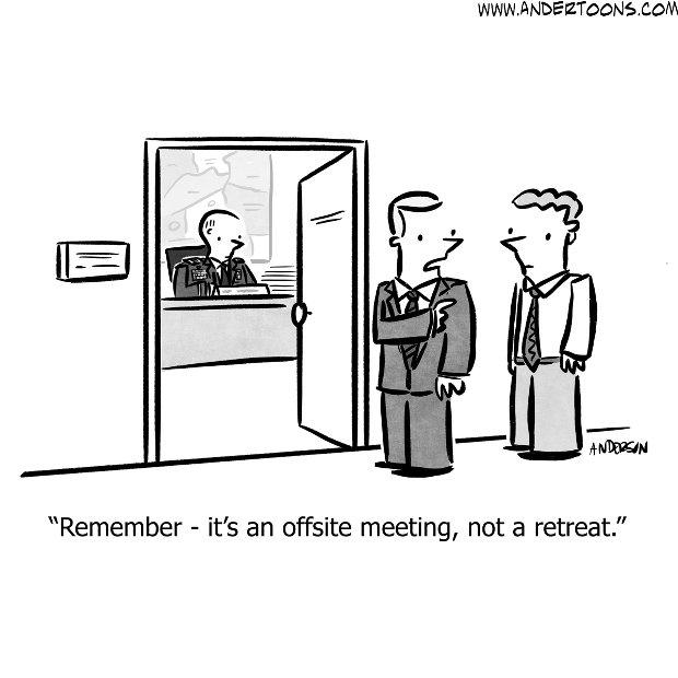 office retreat business cartoon