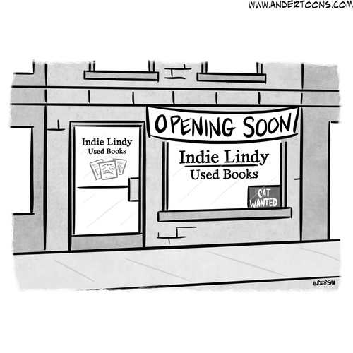 book store cat cartoon