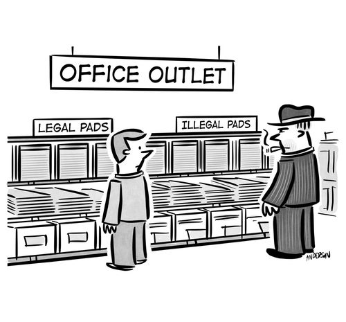 black market office supplies cartoon
